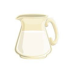 Glass jug of milk vector Illustration