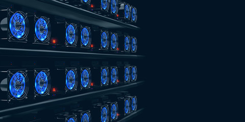 Cryptocurrency mining farm. 3d illustration of abstract cyberspace Blockchain on a dark background Fototapete