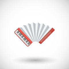 Accordion musical instrument vector flat icon