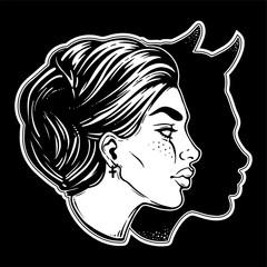 A beautiful woman with imp shadow head portrait.