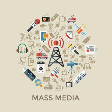 Digital mass media objects color simple flat