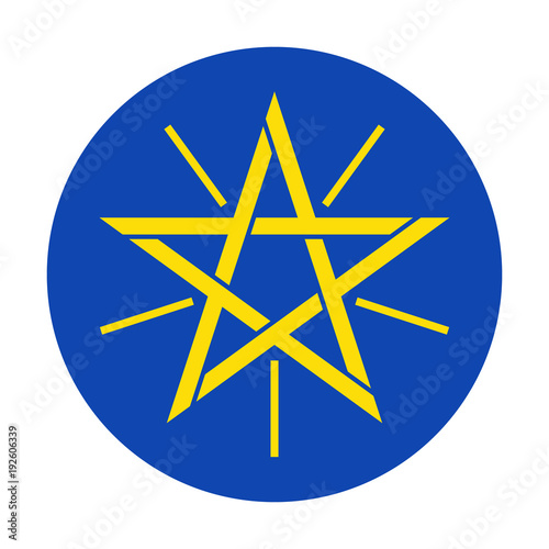 Gold Five Pointed Star With Rays In A Blue Circle Symbol Of