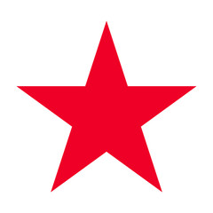 Red five-pointed star. Abstract concept. Vector illustration on white background.