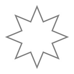 White eight-pointed star. Accurate geometric dimensions. Abstract concept. Vector illustration on white background.