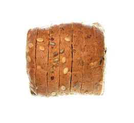 Isolate cereal bread, top view closeup photo of sliced cereal bread loaf isolate on white background, bread loaf, wholewheat brownbread, cereal brownbread, organic healthy food, loaf of brownbread