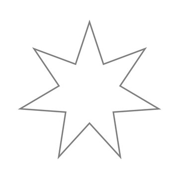 White seven-pointed star. Accurate geometric dimensions. Abstract concept. Vector illustration on white background.