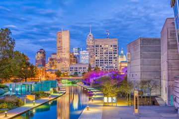 Indianapolis, Indiana, USA over the river walk.