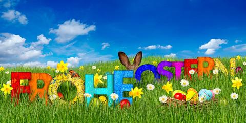 frohe ostern hintergrund gras osterwiese mit holz buchstaben ostereier und osterhase vor blauem himmel