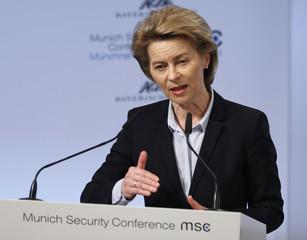 German Defence Minister von der Leyen talks at the Munich Security Conference in Munich