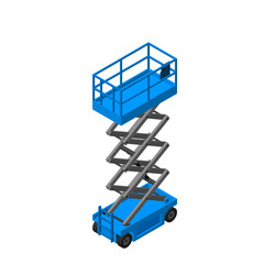 Scissors lift platform. Isolated on white background. 3d Vector illustration. Isometric projection.