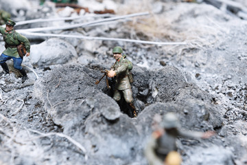 A miniature background by February 23 and May 9. Battle of Stalingrad. Russian soldiers are fighting the German fascist invaders.