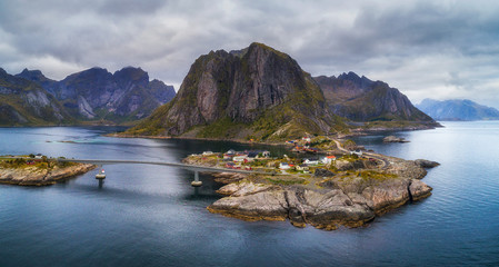 Wall Mural - Aerial view of Hamnoy fishing village in Norway