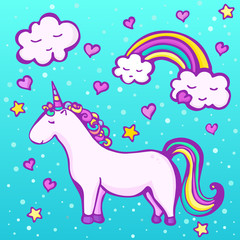 Cute unicorn on a blue background with a rainbow, clouds, hearts and stars