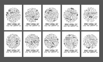 Sport doodle illustration circle form on a4 paper wallpaper background line sketch style set eps10