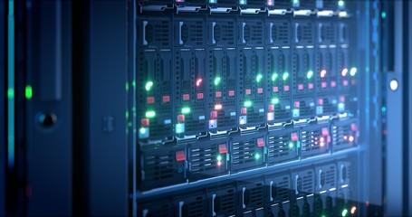 Server in datacenter. Cloud computing data storage 3d rendering