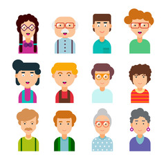 Colorful set of male and female faces in flat design