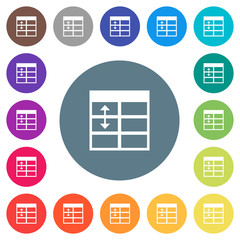 Spreadsheet adjust table row height flat white icons on round color backgrounds