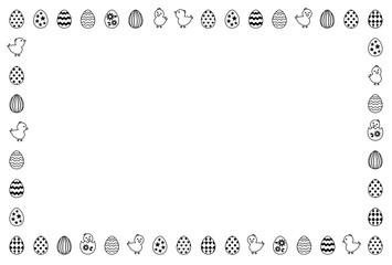 イースターのフレーム 卵とヒヨコ 白黒