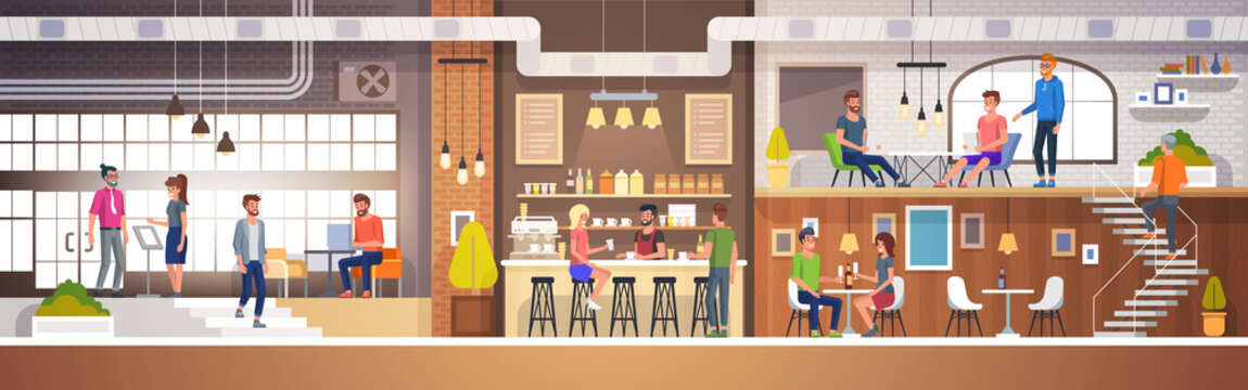 Modern Cafe Interior in loft style. full of People. Restaurant Flat Vector Illustration.