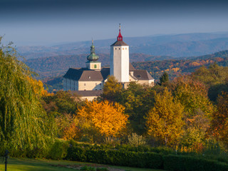 Forchtenstein Castle - a medieval castle from the 15th century located in the Rosalia mountains in Burgenland, Austria.