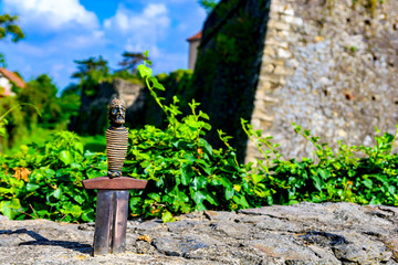 Sword in stone. Excalibur sword of King Arthur