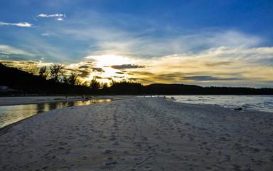 Dramatic sunset at Samila beach in Songkhla, Thailand