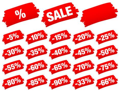 "Red Brushstroke Set ""Sale"" Minus"
