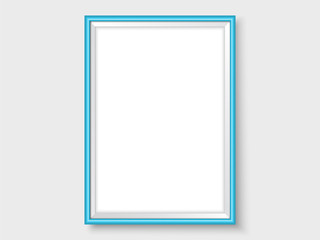 Picture frame on the wall realistic vector blue