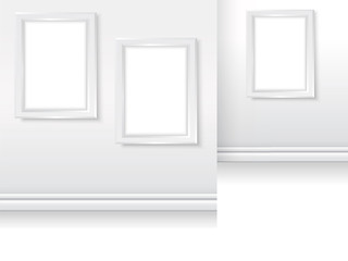 Picture frames in gallery mock up simple vector white