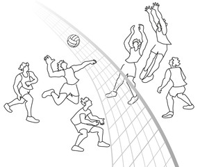 Vector illustration of volleyball players in action.
