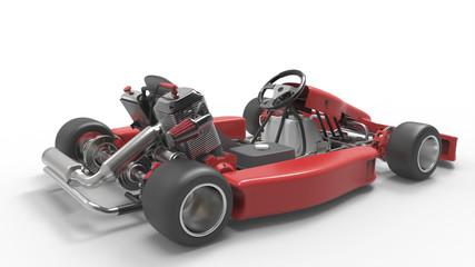 Go kart car. Karting. 3D rendering.