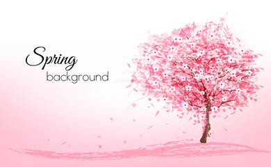 Wall Mural - Beautiful background with a pink blooming sakura tree. Vector.