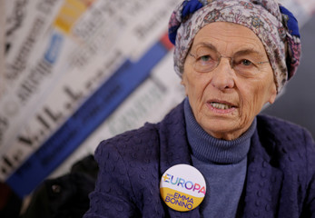 Italy's Emma Bonino, leader of the More Europe party, speaks during a news conference at the Foreign Press Association in Rome