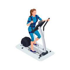 Ems fitness cardio workout isometric 3d illustration with girl running elliptical machine, sport infographics template vector illustartion