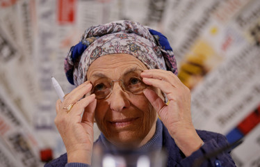 Italy's Emma Bonino, leader of the More Europe party, attends a news conference at the Foreign Press Association in Rome
