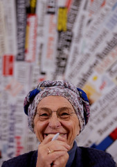 Italy's Emma Bonino, leader of the More Europe party, smiles during a news conference at the Foreign Press Association in Rome