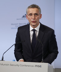 NATO Secretary General Stoltenberg talks at the Munich Security Conference in Munich