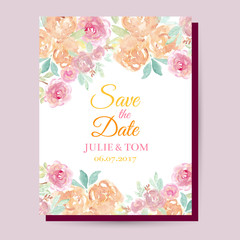 Watercolor roses wedding card. Wedding invitation cards with watercolor blooming rose, save the date card.