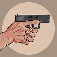 Hand with gun. Gun Control Using Both Hands.