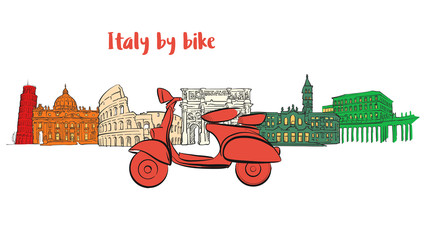 Italy famous travel icons with scooter