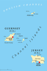 Guernsey and Jersey, political map, with capitals. Channel Islands. Crown dependencies. Archipelago in the English Channel, off the french coast of Normandy. English labeling. Illustration. Vector.