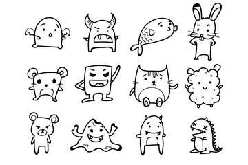 Set of Monsters, Animals. Doodle cartoon drawing on white background