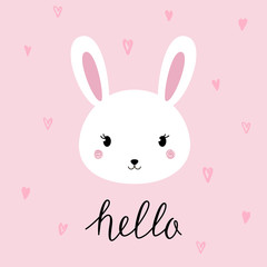 Hand drawn vector portrait of a cute funny bunny with lettering. Vector illustration.