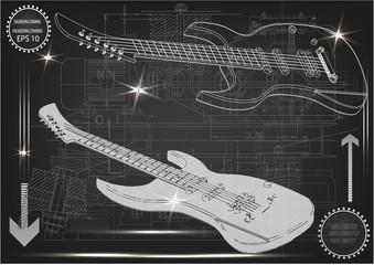 Guitar on a black