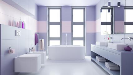 Badezimmer mit zwei Waschbecken und Bidet