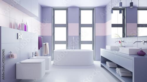 Badezimmer mit zwei waschbecken und bidet stockfotos und lizenzfreie bilder auf - Badezimmer zwei waschbecken ...