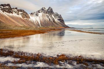 frozen landscape at stokksnes sand beach, iceland