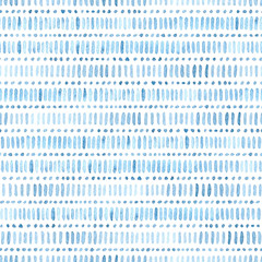 Seamless watercolor pattern. Simple geometric lines. Blue and white colors. Prints for textiles. Uneven edges. Vector illustration.