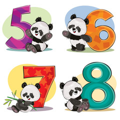 Set of cute baby panda bears with numbers vector cartoon illustration. Clipart for greeting card for kids birthday, invitation, template for t-shirt print. Fun math, counting, numerals - 5,6,7,8