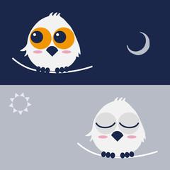 フクロウ owl day and night キャラクター イラスト vector